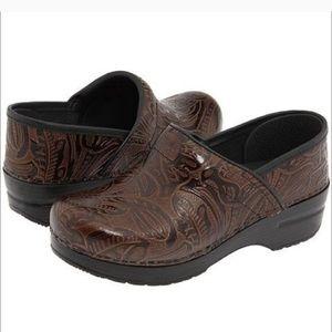 Dansko professional tooled tribal leather clog